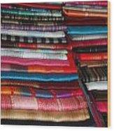 Stacks Of Colorful Shawls Wood Print
