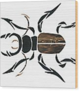 Stag Beetle Going Tribal Wood Print