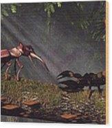 Stag Beetle Versus Scorpion Wood Print