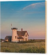 Stage Harbor Lighthouse Square Wood Print by Bill Wakeley