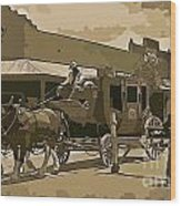 Stagecoach In Old West Arizona Wood Print