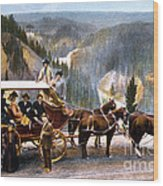Stagecoach Near Upper Falls Wood Print