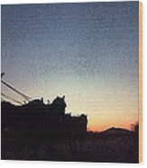 Stagecoach Riding Off Into The Sunset Wood Print