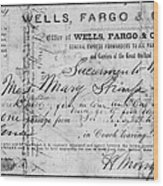 Stagecoach Ticket 1868 Wood Print