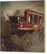 Stagecoach West Sepia Textured Wood Print