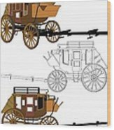 Stagecoach Without Horses - Color Sketch Drawing Wood Print