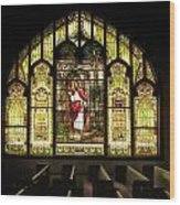 Stain Glass Behold I Stand At The Door And Knock Wood Print
