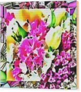 Stain Glass Framed Florals Wood Print