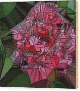 Stain Glass Rose Wood Print