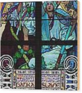 Stained Galss Window In St Vitus Wood Print