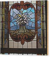 Stained Glass 3 Panel Vertical Composite 04 Wood Print by Thomas Woolworth