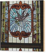 Stained Glass 3 Panel Vertical Composite 05 Wood Print by Thomas Woolworth