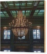 Stained Glass And Chandelier  Wood Print