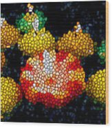 Stained Glass Candle 1 Wood Print