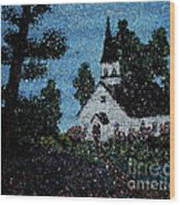 Stained Glass Church Scene Wood Print