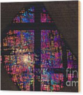 Stained Glass Cross Wood Print