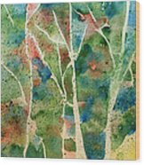 Stained Glass Forest In Spring Wood Print