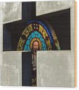 Stained Glass In A Tomb Wood Print