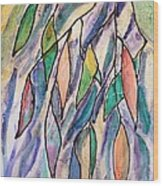 Stained Glass Leaves #2 Wood Print