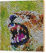 Stained Glass Leopard 3 Wood Print