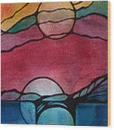 Stained Glass Moonrise Wood Print