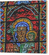 Stained Glass Of Chartres Wood Print