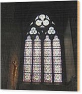 Stained Glass Of The Notre Dame Wood Print