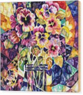 Stained Glass Pansies Wood Print