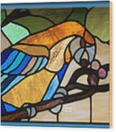 Stained Glass Parrot Window Wood Print