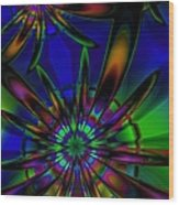 Stained Glass Passion Flowers Wood Print