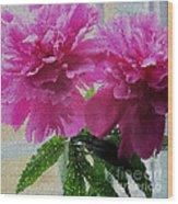 Stained Glass Peonies Wood Print