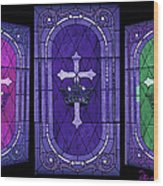 Stained Glass - Purple Wood Print