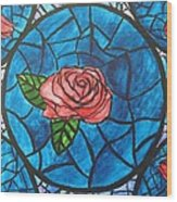 Stained Glass Roses Wood Print