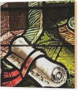 Stained Glass Scroll Wood Print