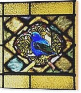 Stained Glass Template Blue Bird Of Happiness Wood Print