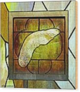 Stained Glass Template Maple Seedling Wood Print