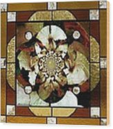 Stained Glass Template Sepia Flora Kalidescope Wood Print