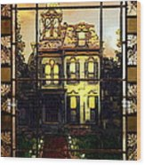 Stained Glass Template Victorian Twilight Wood Print