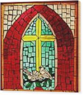 Stained Glass Window At Santuario De Chimayo Wood Print