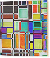 Stained Glass Window Multi-colored Abstract Wood Print