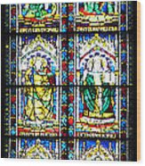 Stained Glass Window Of Santa Maria Del Fiore Church Florence Italy Wood Print