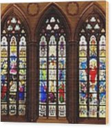 Stained Glass Windows At Saint Josephs Cathedral Buffalo New York Wood Print