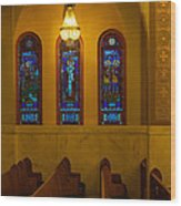 Stained Glass Windows At St Sophia Wood Print