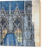 Stained Glass Windows Of Votive Church Wood Print by Viacheslav Savitskiy