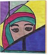 Stained Glass Woman Wood Print