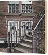 Staircase And Shutters Wood Print