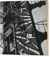 Stairs And Shadows Wood Print