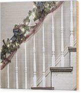 Stairs At Christmas Wood Print
