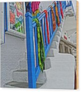 Stairs With Blue Railing In Mykonos Greece Wood Print