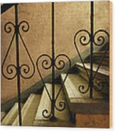 Stairs With Ornamented Handrail Wood Print
